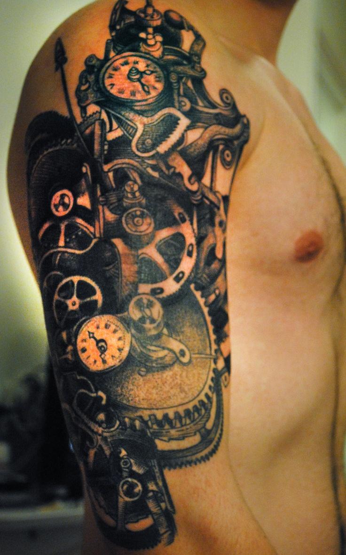 Tattoo gear tattoo sleeve mechanic tattoo mechanical tattoo gears - My Own Tattoo Clockwork And Gears By Maud From Tin Tin Tatouages