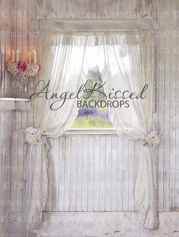 Shabby Chic Window Photography Backdrop Elegant Sheer Curtains