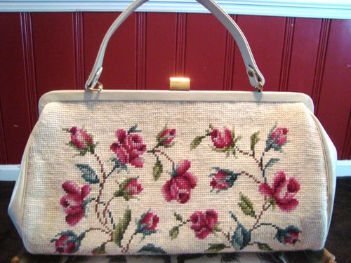 Large Cream Handstitched Needlepoint Tapestry Purse