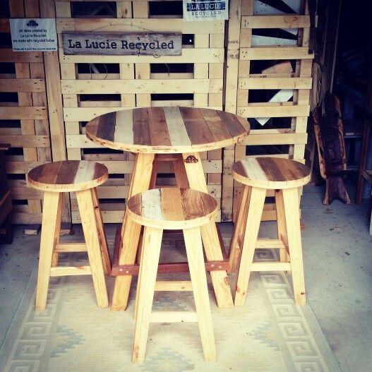 Custom made on the Gold Coast Australia. La Lucie Recycled Bar Table & Stools