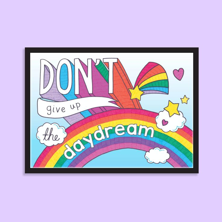 Daydreaming is important, and we want to make sure you never give up on it! Brighten up your space with this fun and colourful print.  Digital print of an original design, drawn and coloured by hand. Printed on white textured card.  Available in 3 sizes: A6 (105 x 148mm / 4.1 x 5.8) A5 (148 x 210mm / 5.8 x 8.3) A4 (210 x 297mm / 8.3 x 11.7)  Please note that colours shown on screen may vary slightly to the printed product as all monitors vary. Frame pictured for illustrative purposes only…