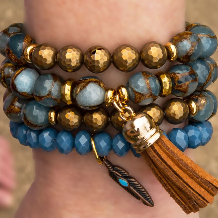 Aegean Denim Wash Bracelet Stack. Gorgeous mix of colors - Blues and Copper. Charm Accent Feather and Leather Tassel. Beaded bracelets, Boho Style Bracelets, Accessories - @Cactus Blues Boutique