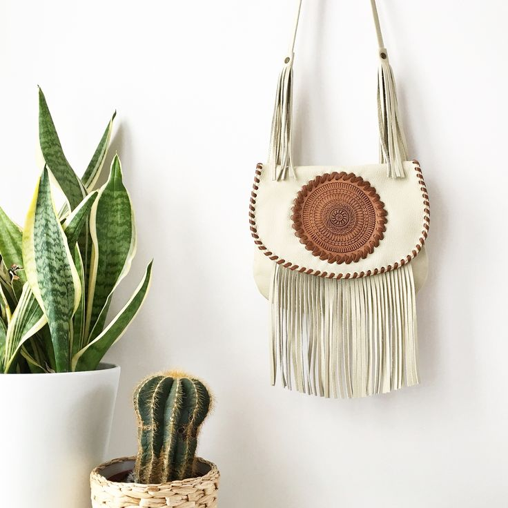 Bespoke handcrafted leather mandala bag