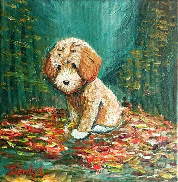 Dog original painting    Cute puppy artwork    Nursery gift