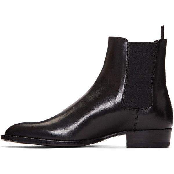 Saint Laurent Black Leather Hedi Boots ($865) ❤ liked on Polyvore featuring men's fashion, men's shoes, men's boots, mens leather boots, mens black leather shoes, mens round toe cowboy boots, mens black chelsea boots and yves saint laurent mens boots
