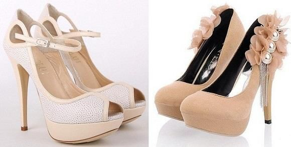 Акцент а ботинки на высоком каблуке