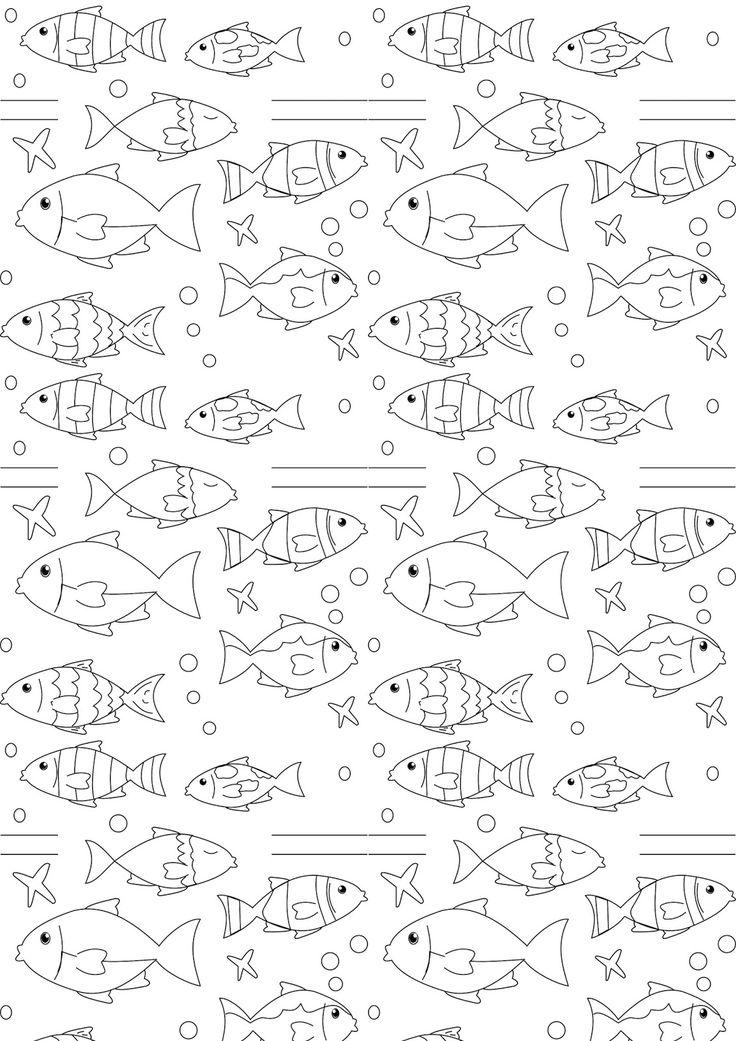 FREE printable nautical coloring page   fish coloring #coloringpage #blackandwhite