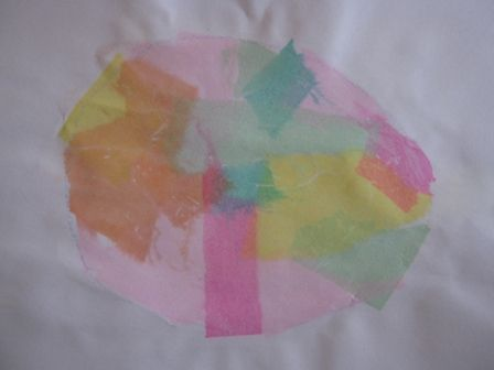 Tissue paper egg art
