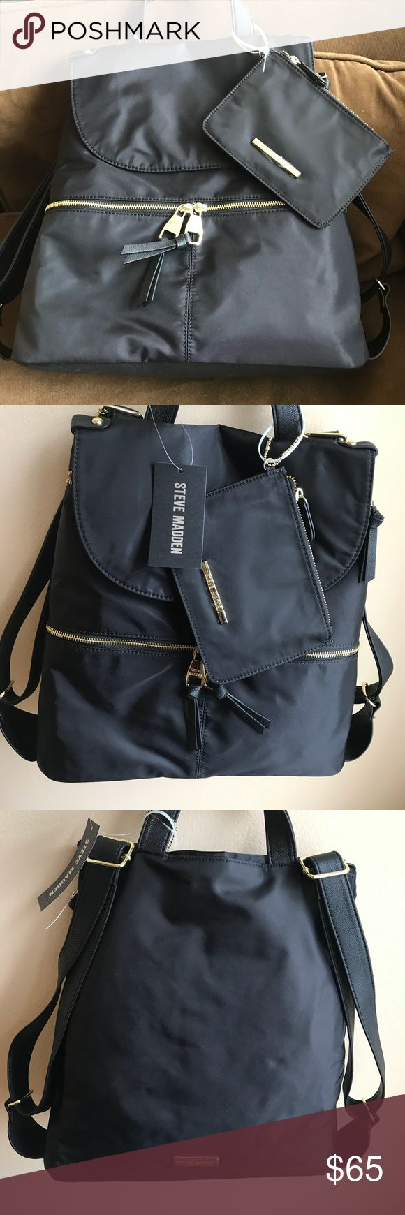 Steve Madden Black Nylon Backpack Cute backpack by Steve Madden and small pouch functional pocket in the front.  Inside has lot of room with one zip pocket and 2 slip pockets. Backpack has a flap with snap closure but inside there is also a a zipper closure . Steve Madden Bags Backpacks