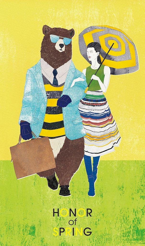 Unpublished, Self-promotional, No.150224 #illustration #spring #people #woman #bear #fashion #KoMachiyama #fashionillustration #イラストレーション #春 #熊 #女性 #人物画 #ファッション #コーマチヤマ #ファッションイラストレーション