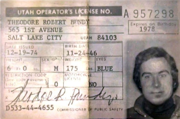 Ted Bundy's Utah driver's license 1974