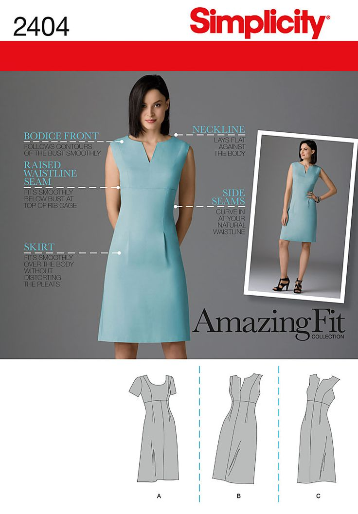 2404 Misses Dresses Misses' / Miss petite dress with pattern pieces for slim, average and curvy fit & A,B,C,D. Amazing Fit collection. | Custom Cup Sizes
