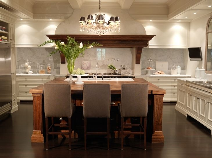 U Shaped Two Tone Kitchen With Rustic Coffee Stained Kitchen Island With  Butcher Block Countertops, Creamy White Kitchen Cabinets With Marble  Countertops, ...