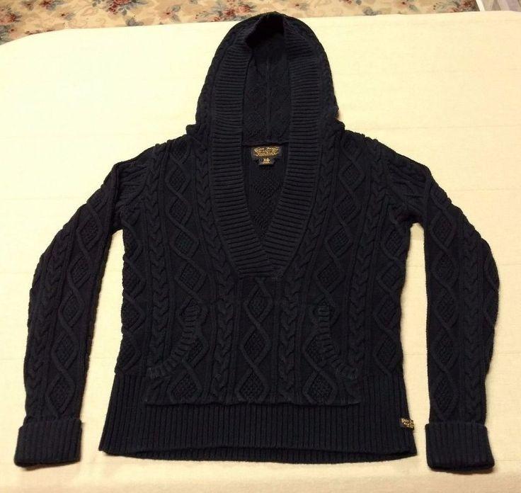 Women's Ladies POLO JEANS Ralph Lauren L/S Cable Knit Sweater Hood Size XS EUC #RalphLauren #Hooded