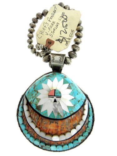 Navajo-Sterling-Silver-Turquoise-Mother-Pearl-Inlay-Sun-Chief-Pendant-Necklace