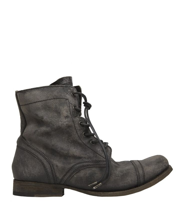 All Saints cropped military boot in graphite.