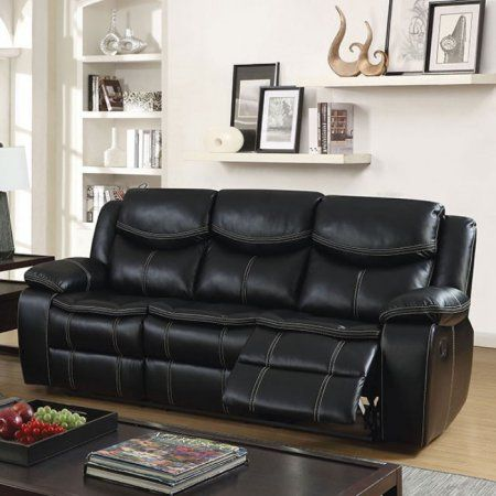 Gatria Transitional Sofa with Recliners, Black