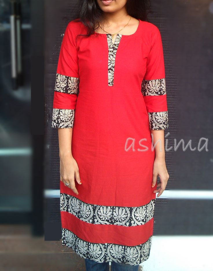Code:0701161 -Linen Cotton Kurta With Block Printed Border- Price INR:790/-