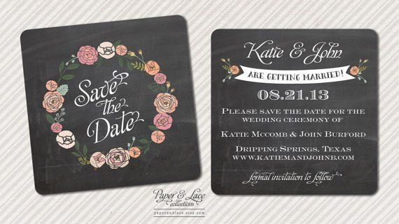 A save the date that looks like chalkboard