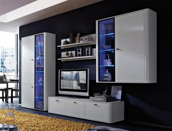 Germania Monza Contemporary Wall Storage System Optional LED Lighting