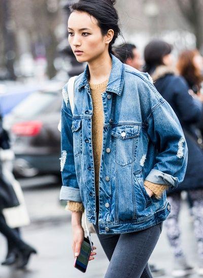 17 meilleures id es propos de vestes en jean sur pinterest veste en jean salopettes et. Black Bedroom Furniture Sets. Home Design Ideas