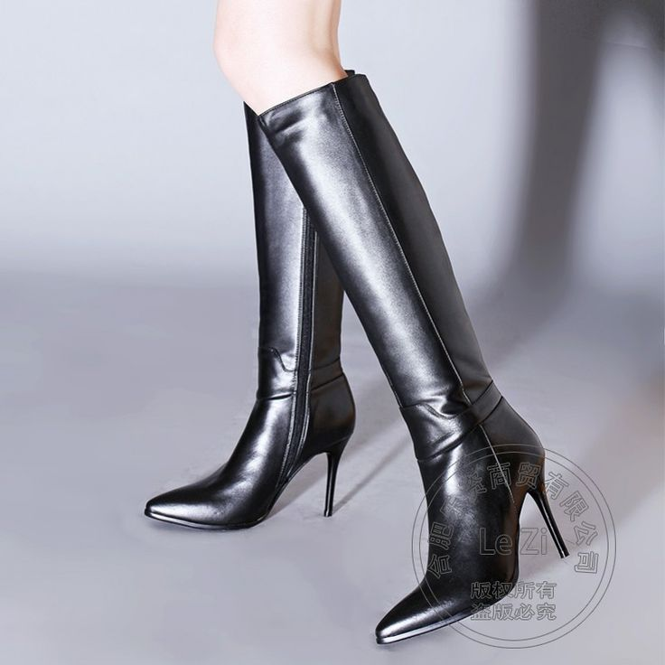 128.35$  Buy now - http://alipwj.worldwells.pw/go.php?t=32742199863 - New Arrival Grace Knee High Slim Heel Pointy Solid Color Soft Women Winter Boots 2015 Genuine Leather Large Size Customized