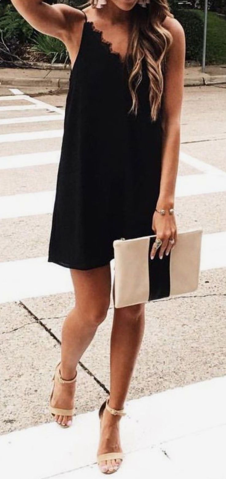 what to wear with a black dress   nude heels + bag  71d925894