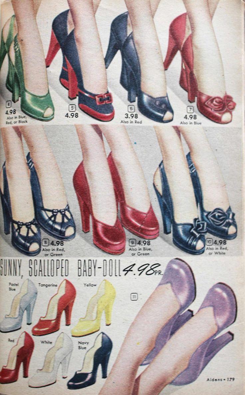1950s heels, tall heels shoes 1952