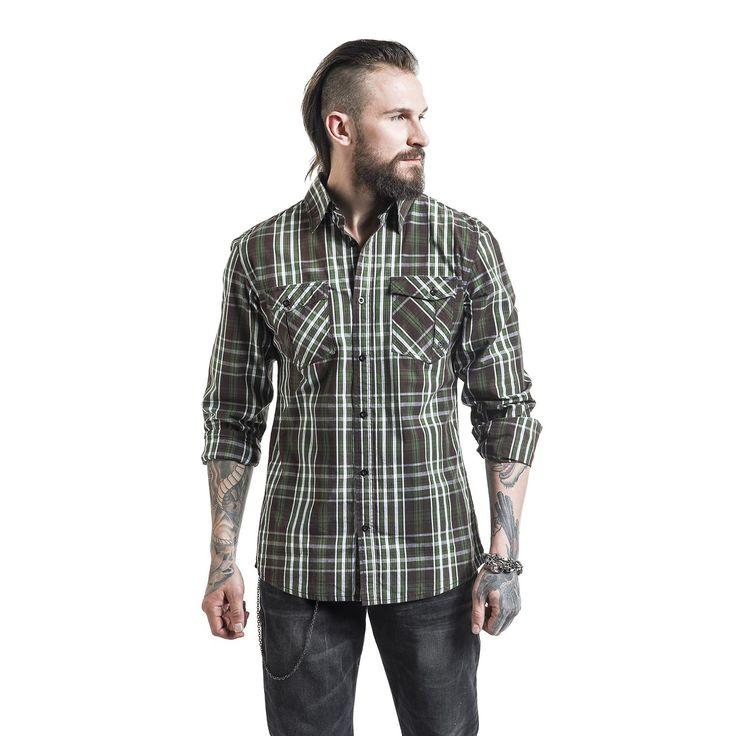 """Camicia uomo """"Checked Shirt"""" della collezione #RockRebelbyEMP a scacchi dotata di 2 taschini con risvolto applicati sul petto, fila di bottoni e tribale ricamato sul retro. I polsini possono essere arrotolati e rivelano il tessuto interno con cui è foderato il capo."""