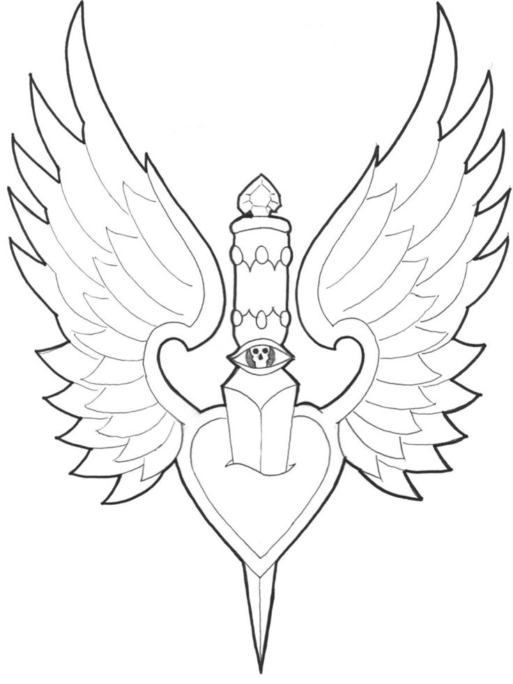 Dagger Tattoo Outline: 21 Best Heart With Wings And Dagger Tattoo Images Images