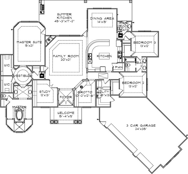 54 best craftsman home plans images on pinterest house floor Santa Barbara Style Home Plans grotto for a man cave florida style house plans 2915 square foot home, 1 story, 3 bedroom and 2 3 bath, 3 garage stalls by monster house plans plan santa barbara style home plans