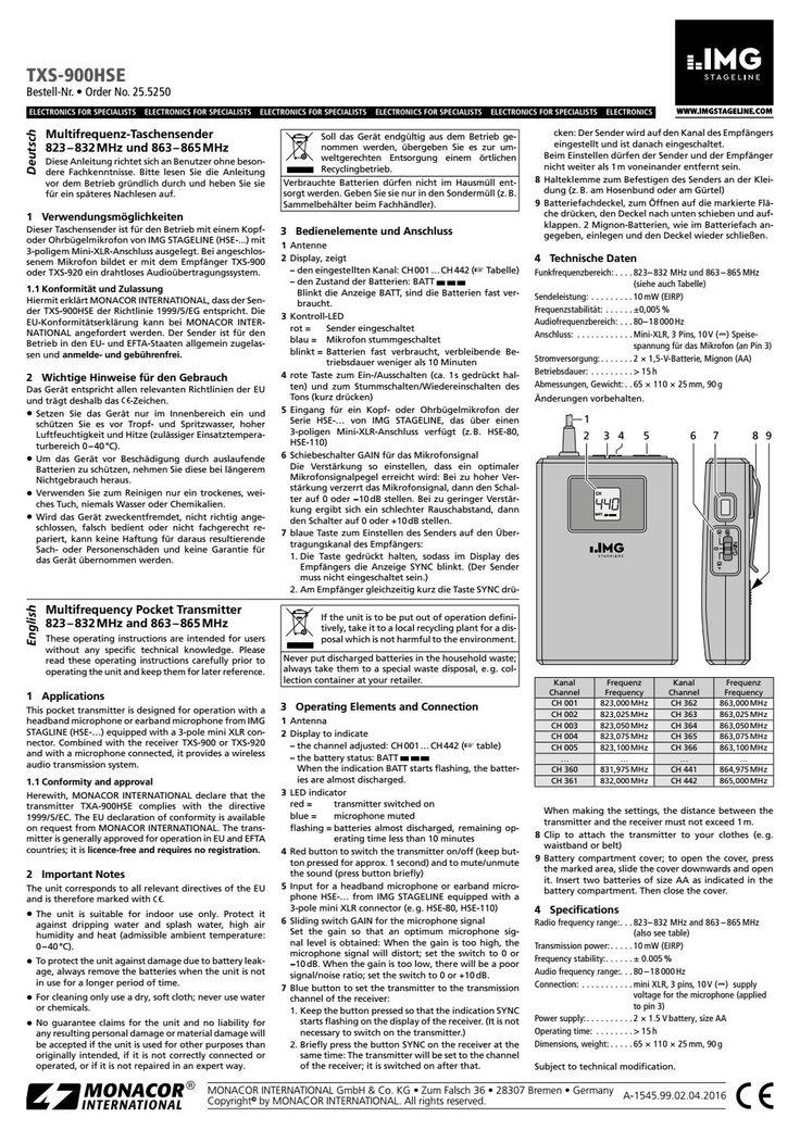 Txs 900hse manuale utente
