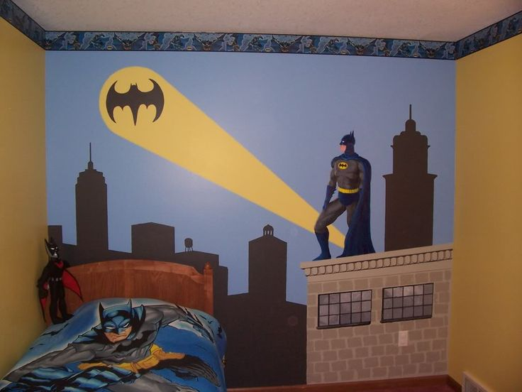 Drake's room. My nephew likes Batman so I painted Gotham City and the Dark Knight on his wall a few years ago.