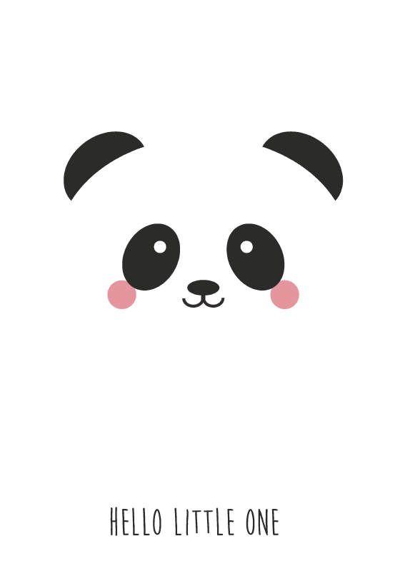 """Kaart panda met tekst """"Hello Little One"""". Deze kaart is geschikt voor kinderen en voor iedereen die pas een baby heeft gekregen. GEBOORTE ZWANGERSCHAP DECORATIE KINDERKAMER BABYKAMER WART-WIT Monochromekids monochromestyling"""