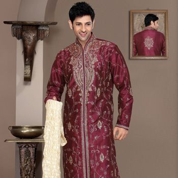 Wine Art Silk Readymade Kurta with Churidar