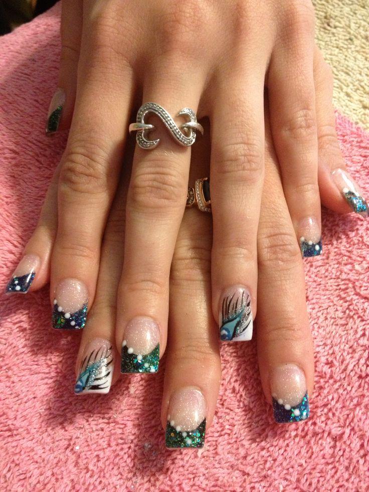 Acrylic nail design - I wanna see your peacock cock cock...... #peacock #nails