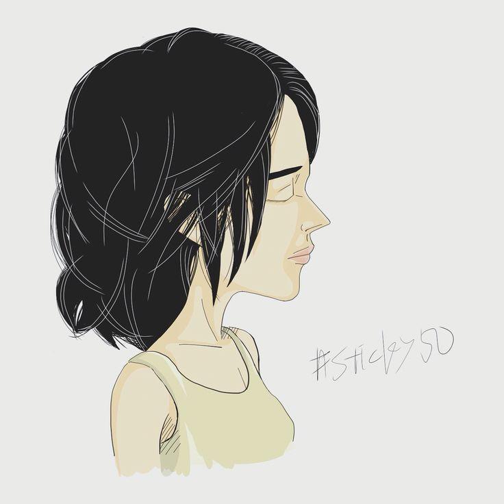 #sticky50 試作その37「瞳を閉じた横顔美人」ゆるふわ髪が描けない