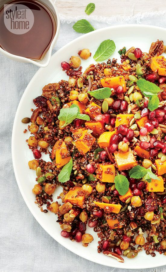 Salad recipe: Moroccan sweet potato red quinoa and chickpea salad with honey harissa dressing {PHOTO: Maya Visnyei}