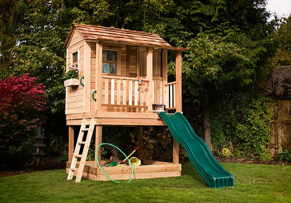 Playhouses - Little Squirt Playhouse with Sandbox - 6'x6' - OLT