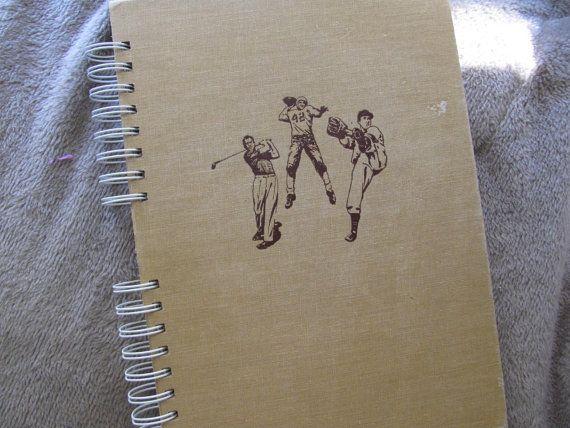 Recycled Sketchbook Vintage Sports Heroes Book by VintageIntent