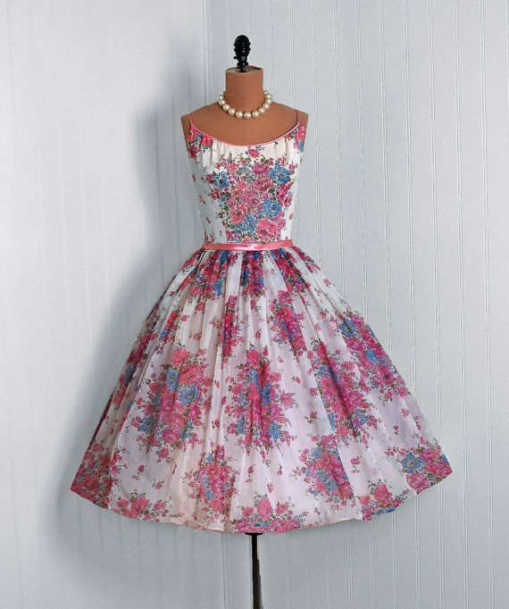 Party Dress: 1950's, watercolor floral sequin nylon chiffon, thin straps back-bow bodice, tulle-lined circle skirt.