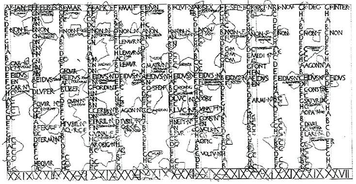 "Drawing of the fragmentary Fasti Antiates Maiores (ca. 60 BC), a Roman calendar from before the Julian reform, with the seventh and eighth months still named Quintilis (""QVI"") and Sextilis (""SEX""), and the intercalary month (""INTER"") in the far righthand column (see enlarged)"