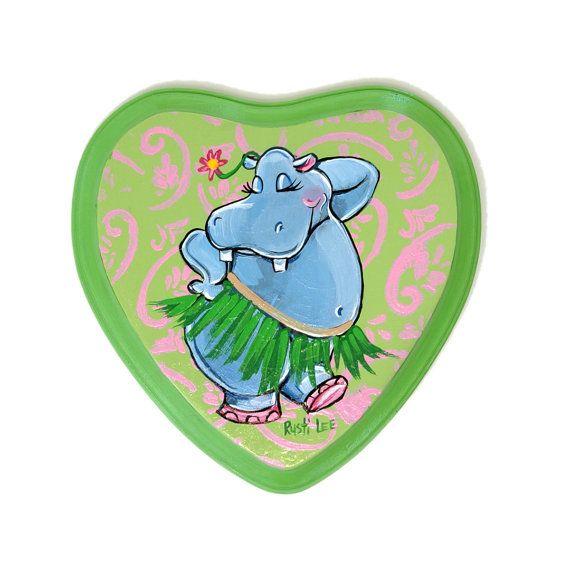 Hawaiian Hula Dancer Blue Hippo Art Wooden Heart Shape 7x7