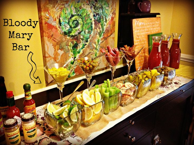 Love This Bloody Mary Bar... I think the shrimp is the key to this fantastic presentation :)