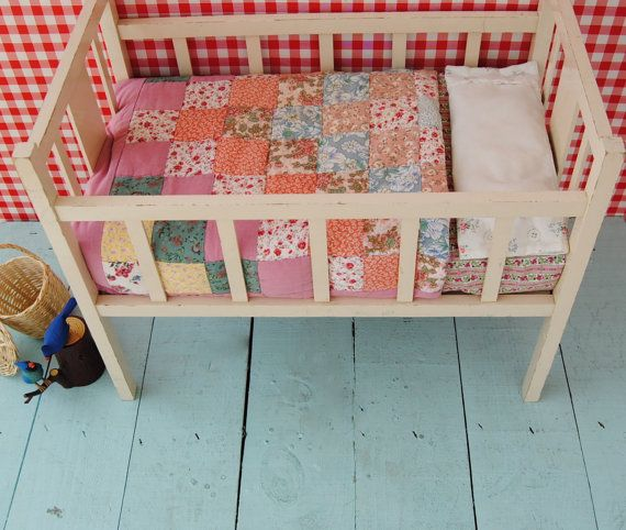 Vintage miniature TOY CRADLE - wooden crib (with matress & pillow) - painted in eggshell colour