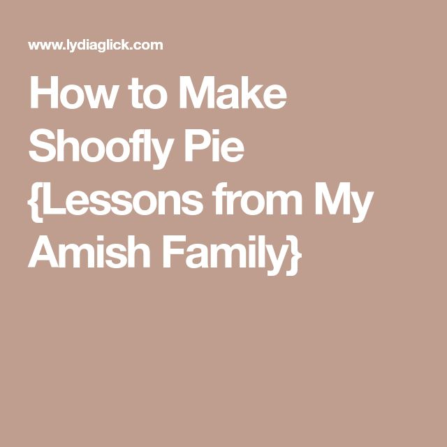 How to Make Shoofly Pie {Lessons from My Amish Family}