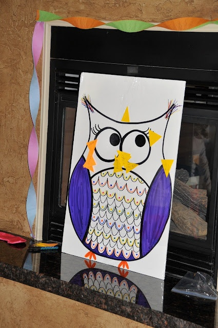 Pin the beak on the Owl...good game for the kids that come for Stella's bday.