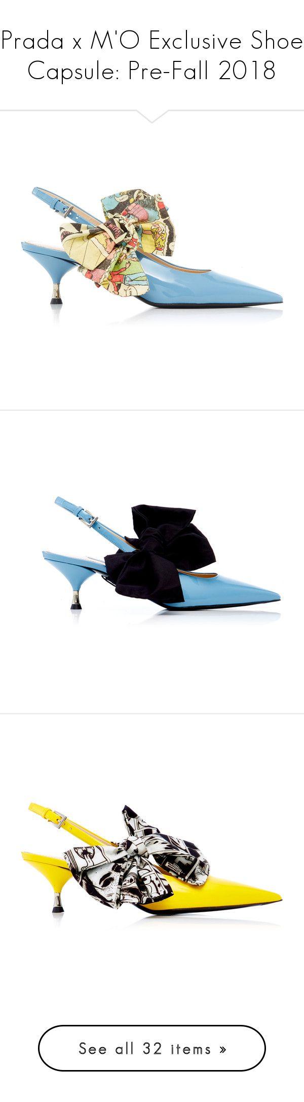 """Prada x M'O Exclusive Shoe Capsule: Pre-Fall 2018"" by livnd ❤ liked on Polyvore featuring shoes, Prada, livndshoes, livndprada, prefall2018, black kitten heel shoes, black shoes, black patent shoes, patent shoes and kitten heel slingback shoes"