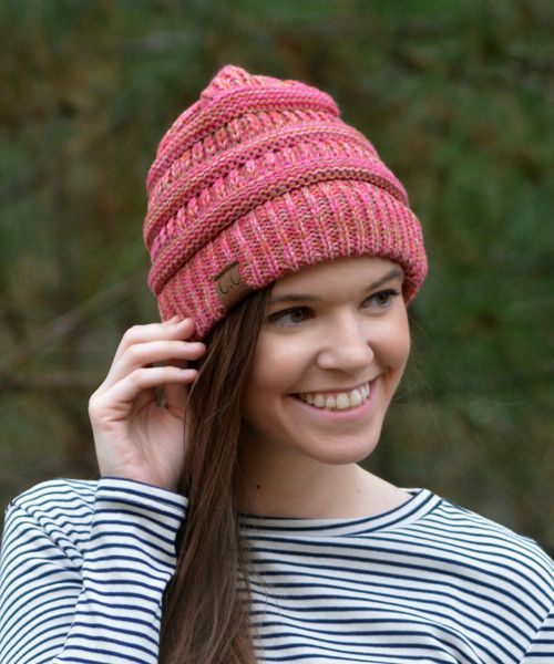 This slouchy fit beanie is so soft and cozy, it will keep you warm on these cold winter nights. This beanie is not just purple, it is made of four different thread colors. - 100% Acrylic - Brand: C.C.