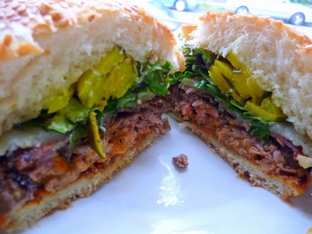 """""""The Toro Burger"""" with bacon, manchego and romesco, available at Toro Bravo and Tasty N Sons"""